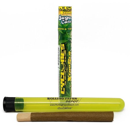 Cyclones Pre Rolled XtraSlo Sugar Cane Hemp Cone (1 Pack) with Dank 7 Tip and Rolling Paper Depot XL