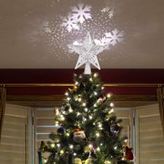 GLiving Christmas Tree Topper LED Lights Star Top Light Projection Lamp Light for Indoor, Outdoor, Wedding Party, Christmas Tree, Garden Decoration - Gold