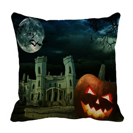PHFZK Moon Pillow Case, Pumpkin on Halloween against Scary Old Castle Pillowcase Throw Pillow Cushion Cover Two Sides Size 18x18 inches](Scary Pumpkin Noses)