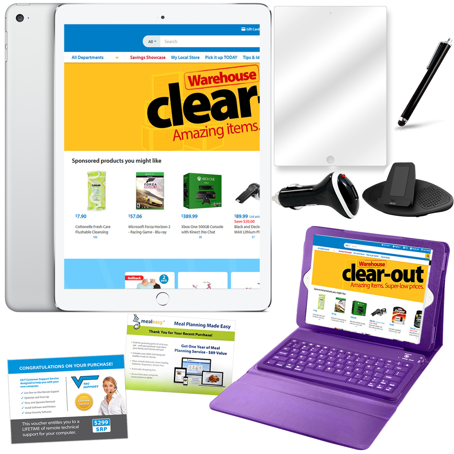 iPad Air 2 16GB White & Silver Bundle with Accessories- Purple