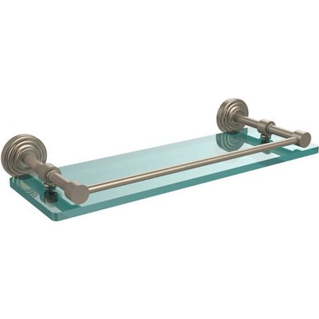 """Waverly Place 16"""" Tempered Glass Shelf with Gallery Rail (Build to Order)"""