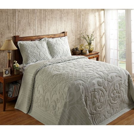 ASHTON CHENILLE BEDSPREAD AND PILLOW SHAM SET, ALL COTTON, KING SIZE, SAGE - Cotton Chenille Shams