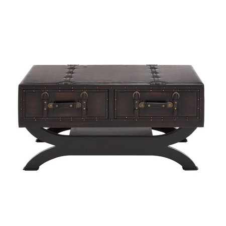 Woodland Imports Cly Wood Leather Coffee Table