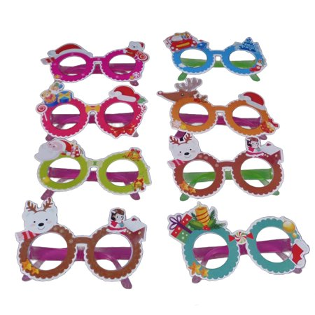 8pcs Cartoon Designed Cute Eye Glasses Innovative Plastic Costume Eyeglasses for Christmas