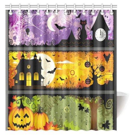 MYPOP Halloween Decorations Shower Curtain, Halloween Theme Night Pumpkin Bat Cat and Haunted House Ghost Town Artful Fabric Bathroom Shower Curtain with Hooks, 66 X 72 Inches