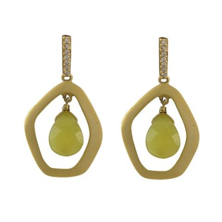 Olive Jade Semi Precious Teardrop Stone with Gold Plated Two Tone Sterling Silver Open Pentagon Shape Cubic Zirconia Post Earrings, 1.34 in.