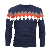 Azzuro Men's V Neck Long Sleeve Pullover Argyle Slim Fit Casual Jumpers (Size S / 36)