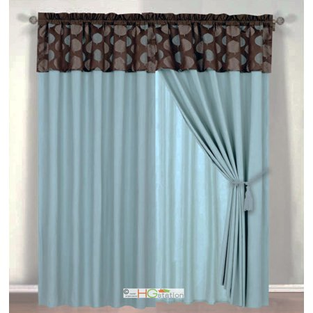4-Pc Tropical Palm Leaf Jacquard Curtain Set Slate Blue Brown Valance Drape Liner -