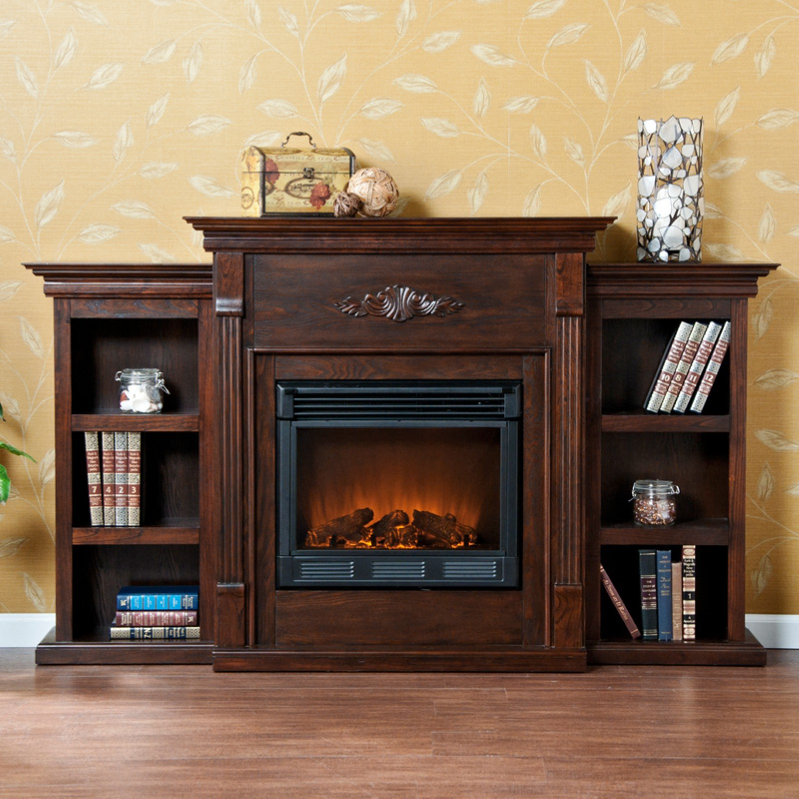 Southern Enterprises Tennyson Espresso Electric Fireplace with Bookcases