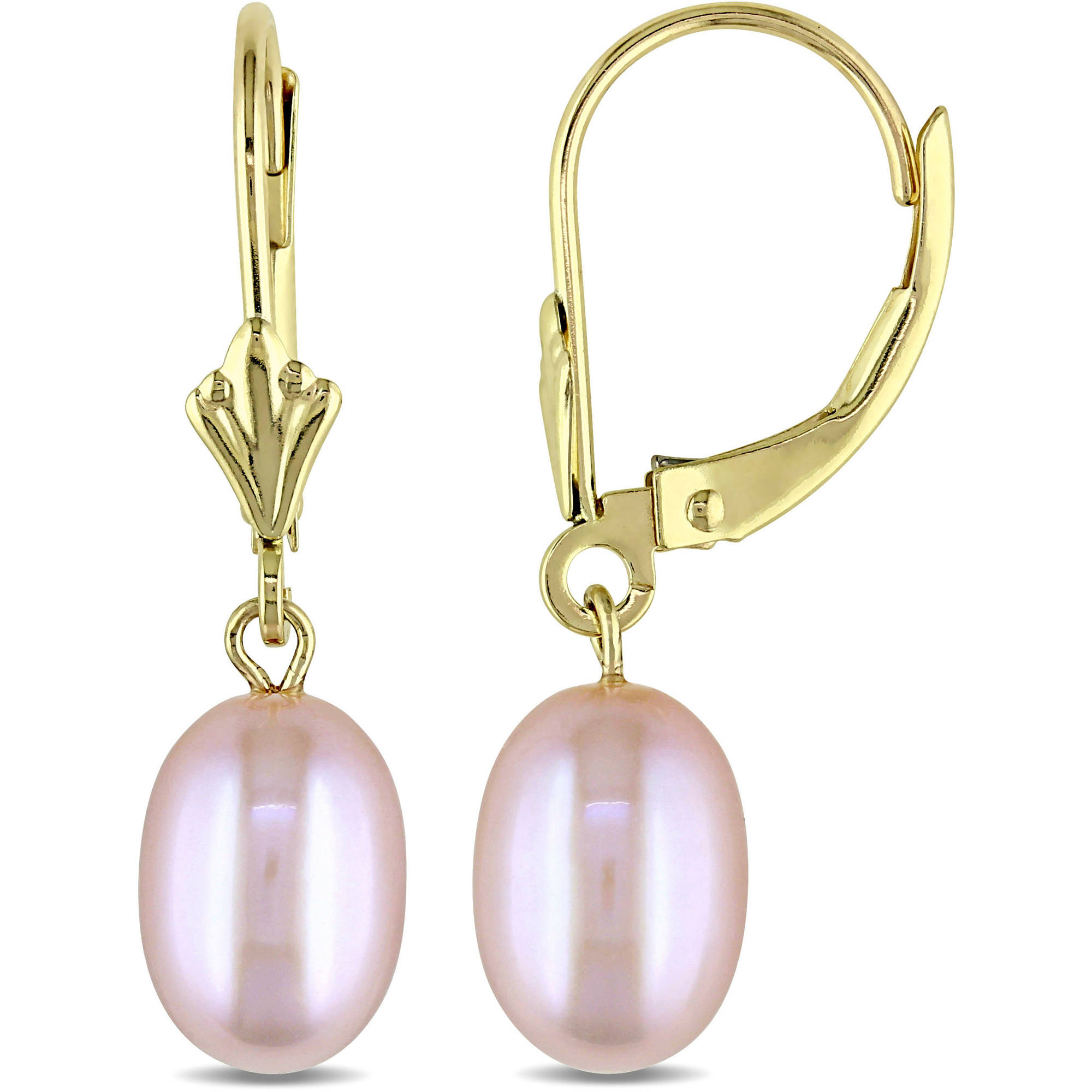 Miabella 6.5-7mm Pink Cultured Freshwater Pearl 10kt Yellow Gold Leverback Earrings