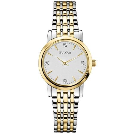 98P115 Womens Silver & Gold Diamond Watch