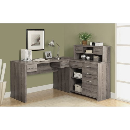 Latitude Run Milford L-Shaped Computer Desk with Hutch