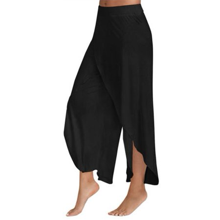 Women's Harem Palazzo Wide Leg Loose Chiffon Split Skirts Yoga Pants
