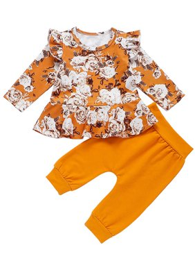 KidPika Newborn Baby Girls Winter Clothes Floral Ruffled Sleeve Tops Pants 2PCS Outfits