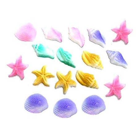 12pk Pastel Sea Creatures Beach Sea Shell Star Cake Cupcake Sugar Decoration Toppers](Beach Cake Topper)