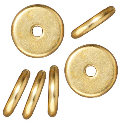 Bright 22K Gold Plated Lead-Free Pewter Disk Heishi Spacer Beads 8mm (10)