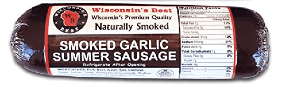 Wisconsins Best Smoked Garlic Summer Sausage, Case of 12 � 12 oz summer sausages by Wisconsin's Best, LLC