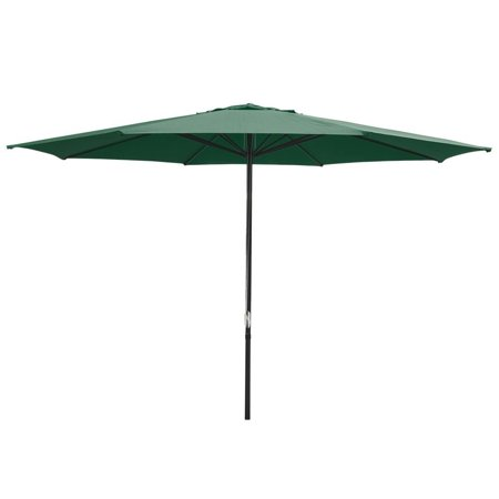 GHP 13-Feet Green UV30+ 2-Layer 180g/sqm Polyester Aluminum Pole Sun Shade Umbrella (2 Pole Sunshade)