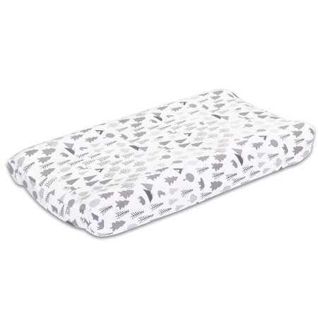 Grey Woodland Animal Baby Changing Pad Cover - Forest Dream Collection by The Peanut