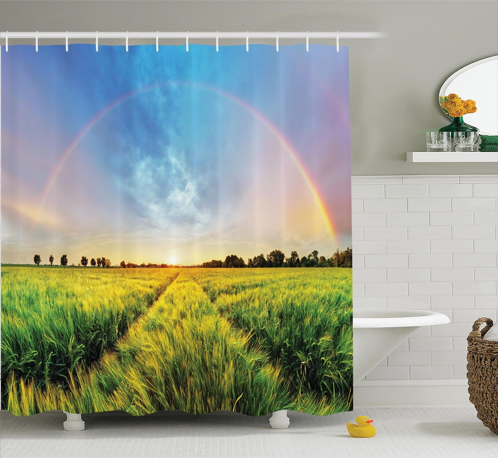 Farm House Decor Shower Curtain Set, Rainbow In Sky Over Wheat Field At Sunset Natural Paradise Rural Life Illustration, Bathroom Accessories, 69W X 70L Inches, By Ambesonne