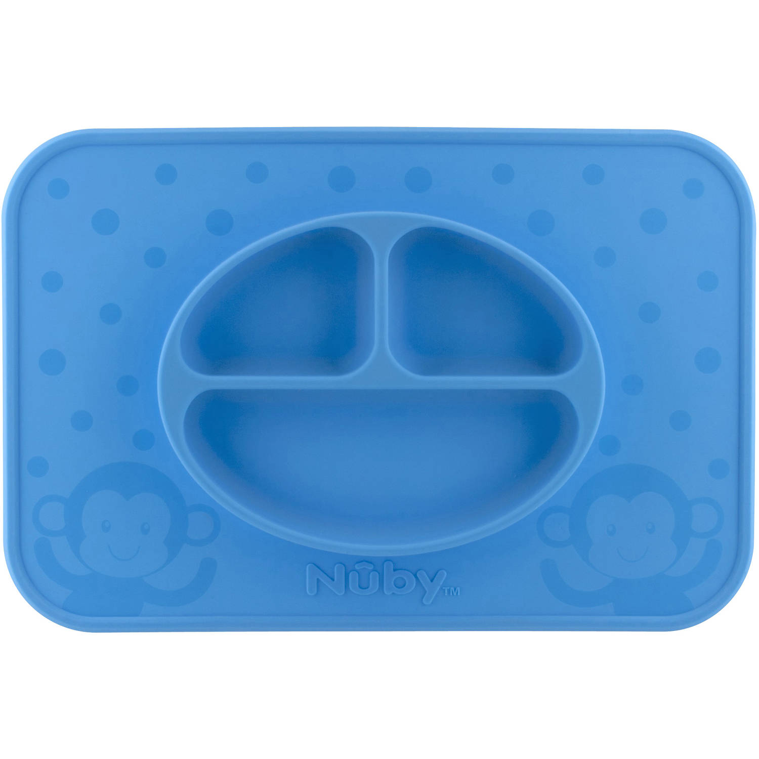 Nuby Large Sure Grip Silicone Sectioned Feeding Mat, Blue