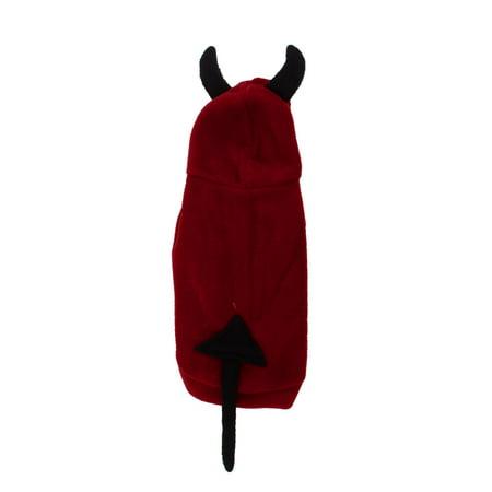 Unique Bargains Press Stud Button Devil Style Pet Dog Poodle Hoodie Clothing Coat Black Red M for $<!---->