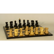 Old Russian Knight Style Black & Natural Boxwood on Black & Birdseye Maple veneer Chess Board
