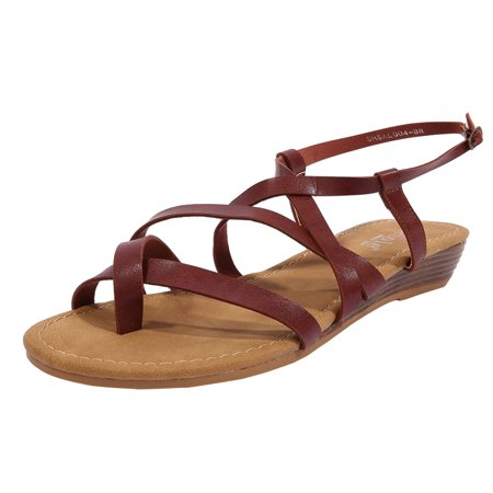 Reptile Gladiator Wedge (SheSole Women's Summer Flat Sandals Low Wedge Gladiator Shoes)