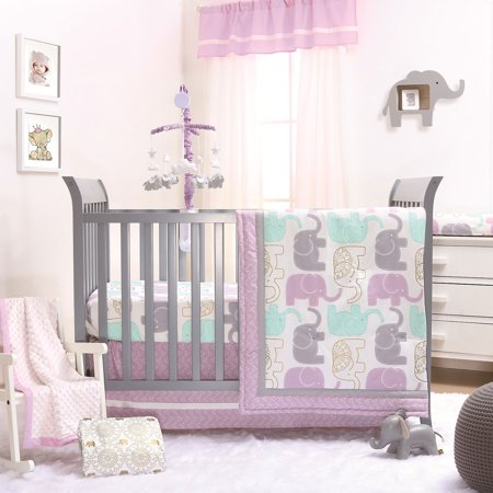Little Peanut Lilac Purple and Gold Elephants 4 Piece Baby Girl Crib Bedding Set - Jungle Animal - Jungle Safari Golf