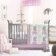 The Peanut Shell 4 Piece Baby Girl Crib Bedding Set - Little Peanut Lilac and Gold Elephants - 100% Cotton Fabrics