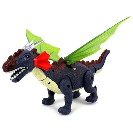 Battery Operated Walking Winged Dragon Toy Dinosaur Figure w/ Realistic Movement, Eyes & Wings Light Up - Dragon Dinosaur