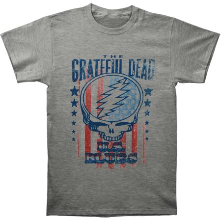 Grateful Dead Men's  U.S. Blues Slim Fit T-shirt Heather Eco Heather V-neck Shirt