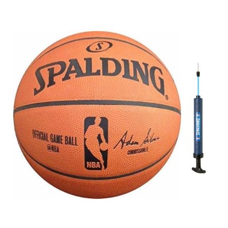 """Spalding NBA Official Game Basketball (29.5"""") and Dual Action Pump (12"""")"""