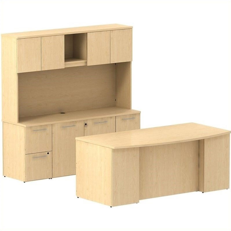 "Bush BBF 300 Series 72"" Desk with Credenza and Hutch in Natural Maple by BBF"