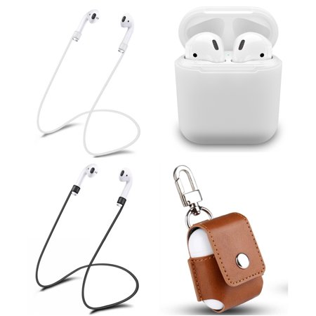 Tiehnom Airpods Accessories Protective Bundle, Airpods Silicone Case, Airpods PU Leather Keychain Case, 2 Airpod Anti-Lost Straps For Apple Airpods