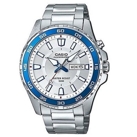 Casio Mens Super Illuminator Quartz Stainless Steel Casual Watch  Silver Toned