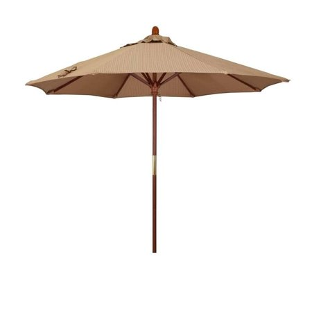 Magnolia Garden 9' Push-Lift Classic Hardwood Umbrella with Olefin Fabric - Terrace Sequoia