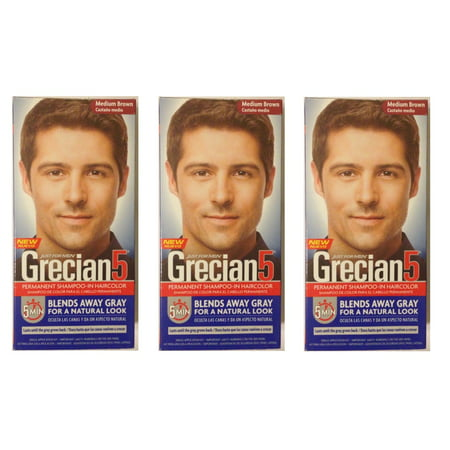 Just For Men Grecian 5 Permanent Shampoo-In Haircolor, Medium Brown (Pack of 3) + Cat Line Makeup Tutorial for $<!---->