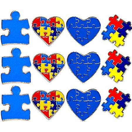 Autism Pins (12 Piece Set 3 Of Each New Design Autism Awareness Heart Colorful Puzzle Pieces Lapel Hat Pins)
