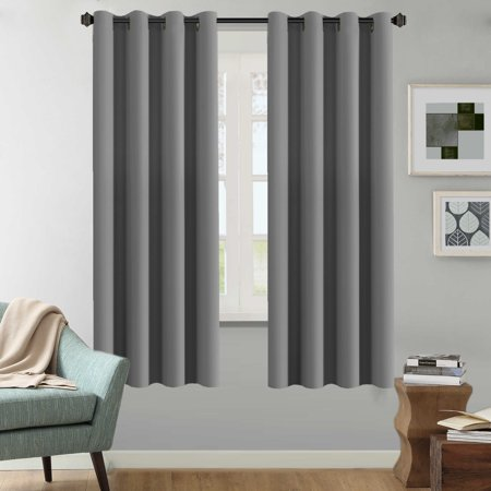 H.VERSAILTEX Solid Grey Color Thermal Insulated Blackout Curtains Metal  Grommet Curtain Panels Room Darkening Window Drapes for Bedroom/Living Room  52 ...