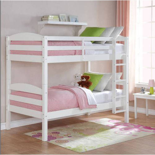 Mainstays Twin Over Twin Wood Bunk Bed with Set of 2 Mattresses, Multiple Finishes