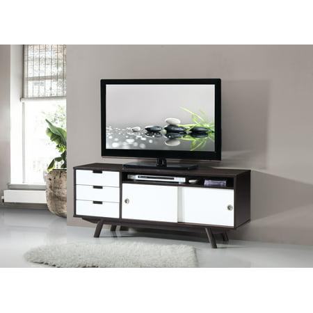 "(Techni Mobili Modern Wood Veneer 55"" TV Stand with Sliding Doors, Wenge (RTA-3672-WN))"