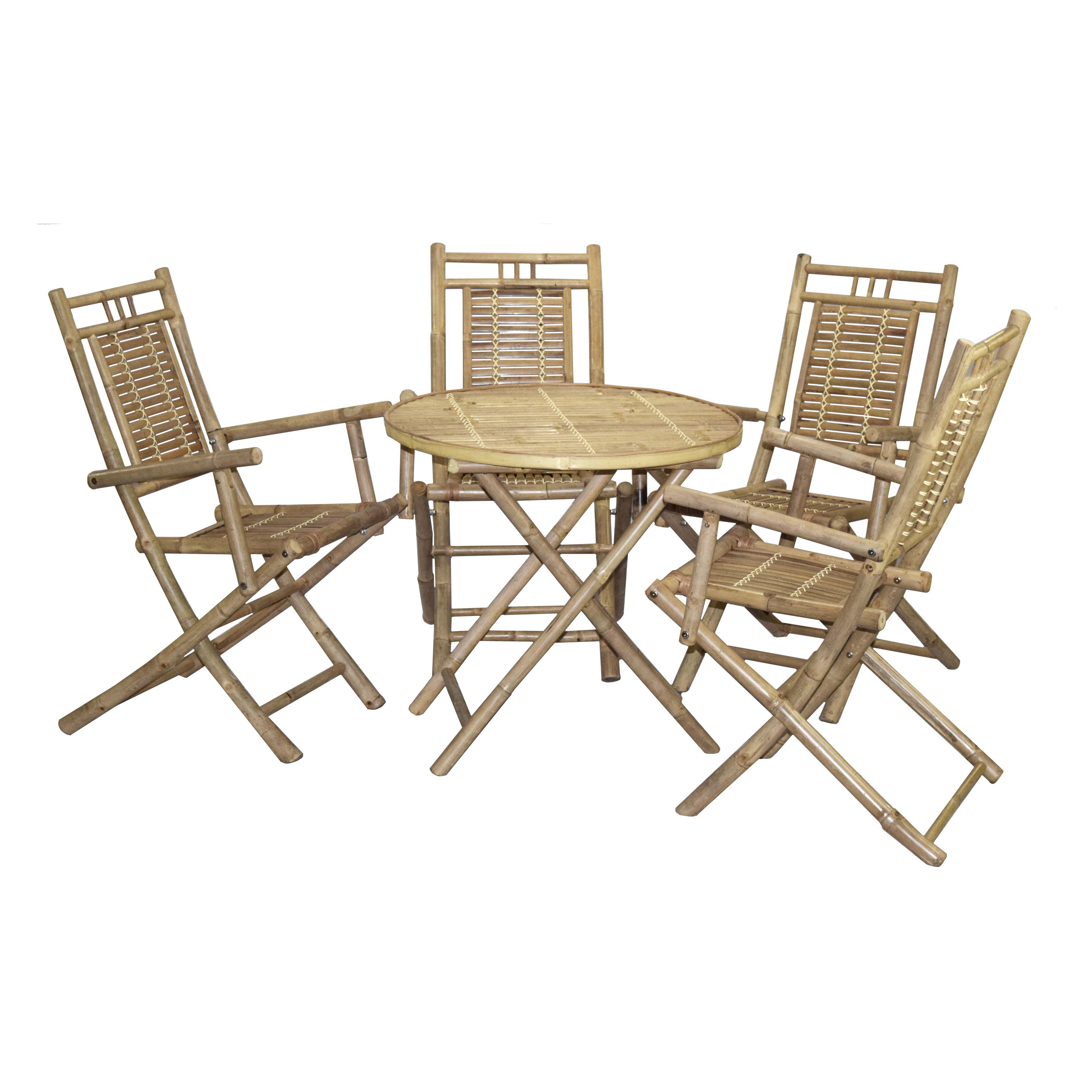 Bamboo54 Wood 5 Piece Round Patio Dining Set with Arm Chairs