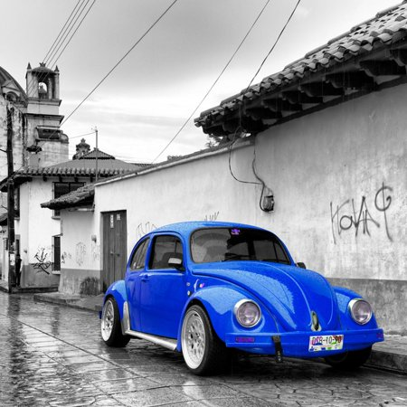 ¡Viva Mexico! Square Collection - Royal Blue VW Beetle Car in San Cristobal de Las Casas Print Wall Art By Philippe Hugonnard - Decoracion Casa De Halloween