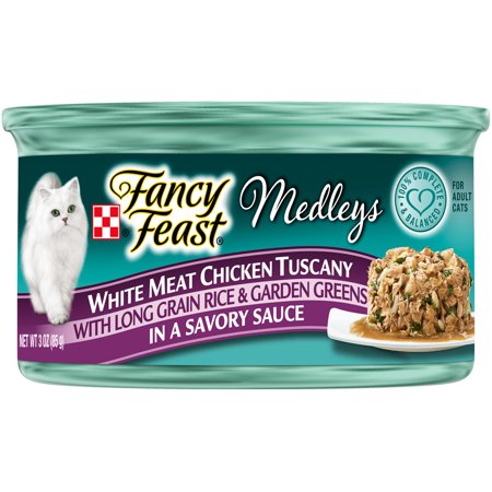 (24 Pack) Fancy Feast Medleys White Meat Chicken Tuscany Wet Cat Food, 3 oz. Cans