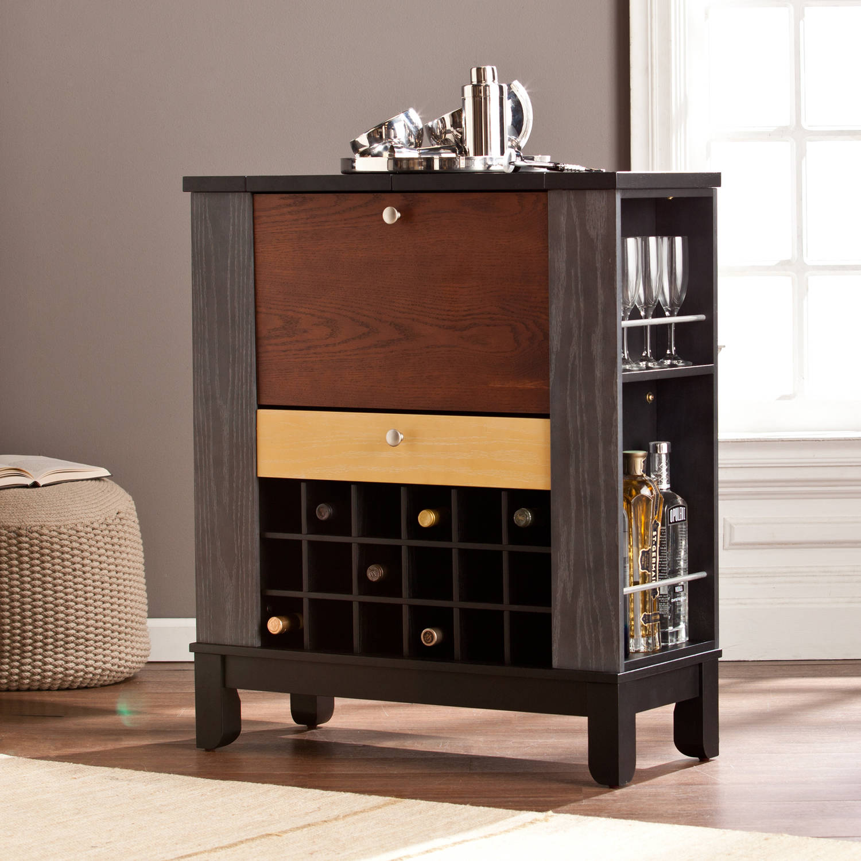 Southern Enterprises Farah Wine/Bar Cabinet, Black/Multi-Tonal