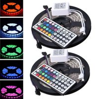 CASUNG Led Strip Lighting 2*5M 32.8 Ft 5050 RGB 300LEDs Flexible Color Changing Lights IP65 Water Resistant LED Strip Light Kit with Remote Controller & White IR Controll Box & Power Supply