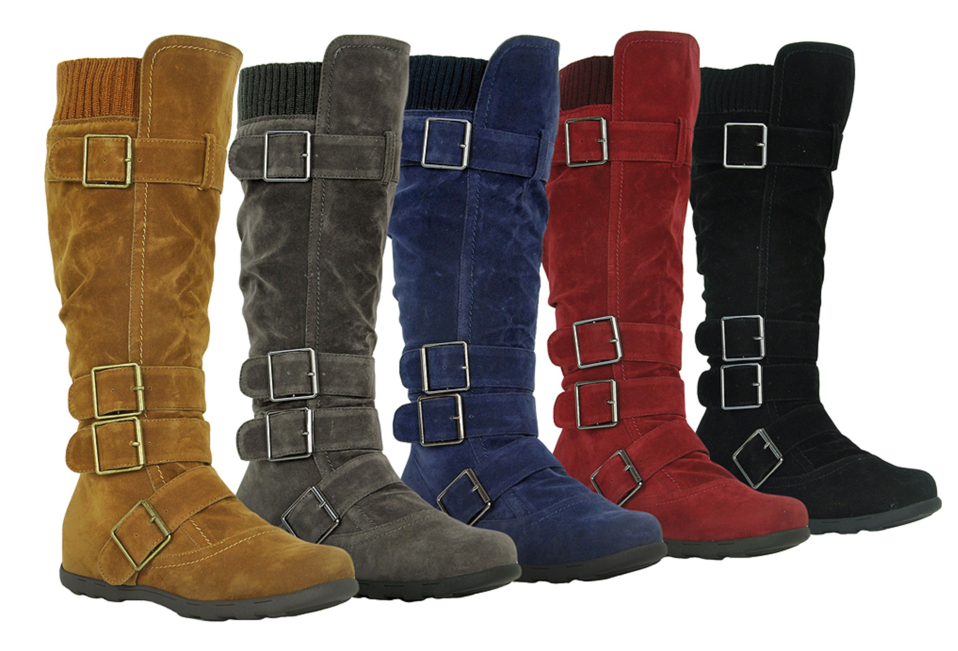Women's Knee High Mid Calf Boots Ruched Suede (Elma-02, Slouch Knitted Calf Buckles (Elma-02, Suede Olive 7) a5b6ea