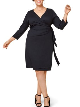 Seek No Further Women's Plus Size Ponte ¾ Sleeve V-Neck Wrap Dress