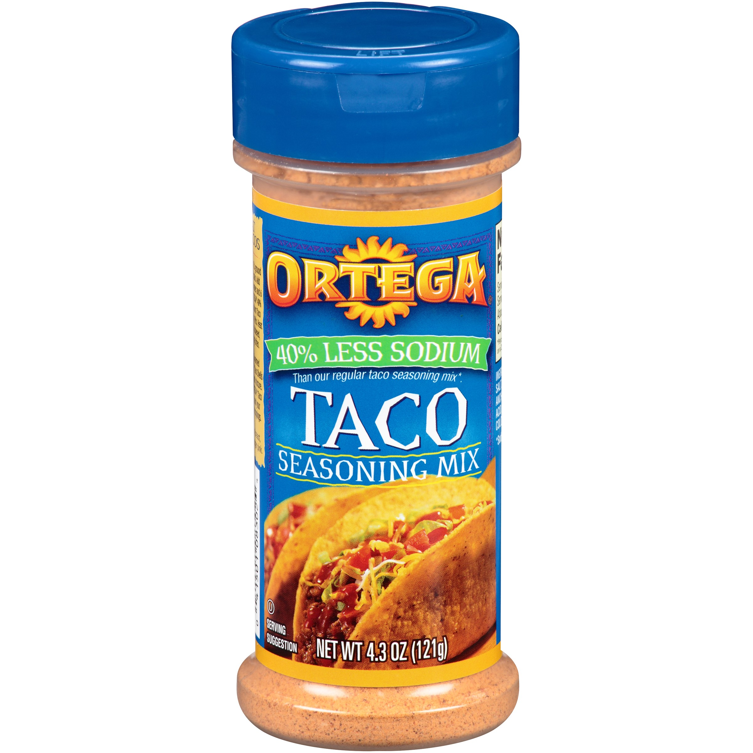 Ortega % Less Sodium Taco Seasoning, 4.3 Oz